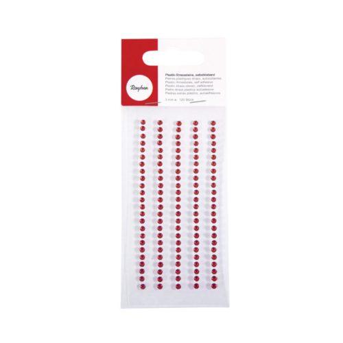 Plastik-Strasssteine in rot, Durchmesser 3 mm, selbstklebend