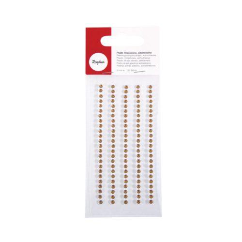 Plastik-Strasssteine in topas, Durchmesser 3 mm, selbstklebend