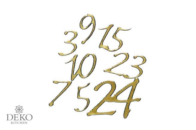 Klebeschrift: Adventskalenderzahlen 1-24 in gold