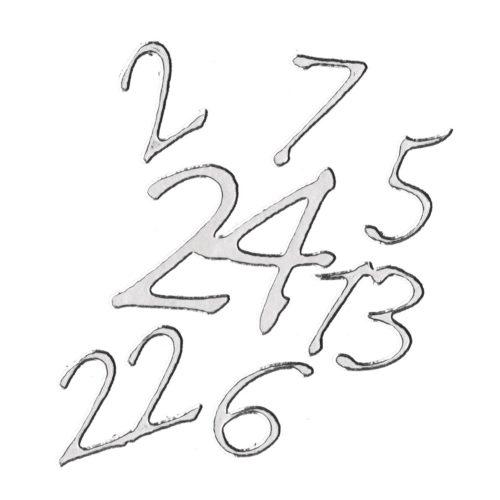 Klebeschrift: Adventskalenderzahlen 1-24 in silber