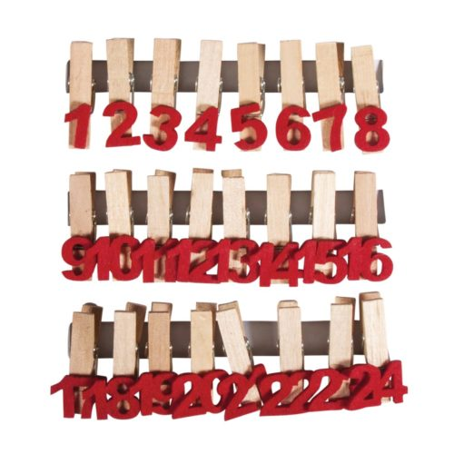 Adventskalenderzahlen aus Filz auf Holzklammern