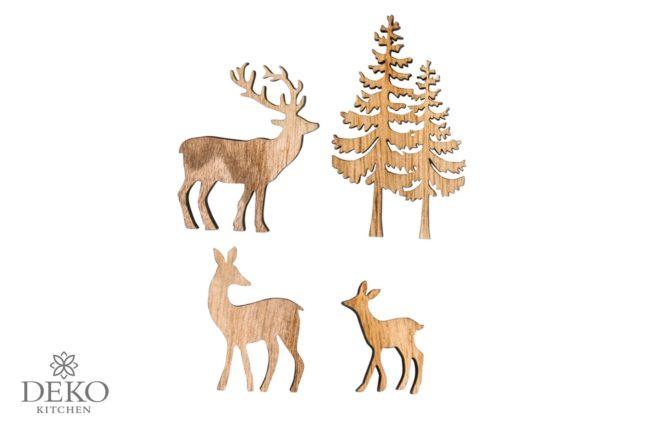 Holz-Streuteile Hirschfamilien mit Tannenbaum