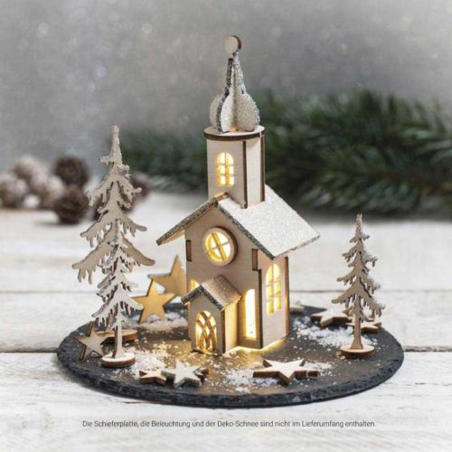 Holzbausatz Weihnachtskirche Deko-Kitchen
