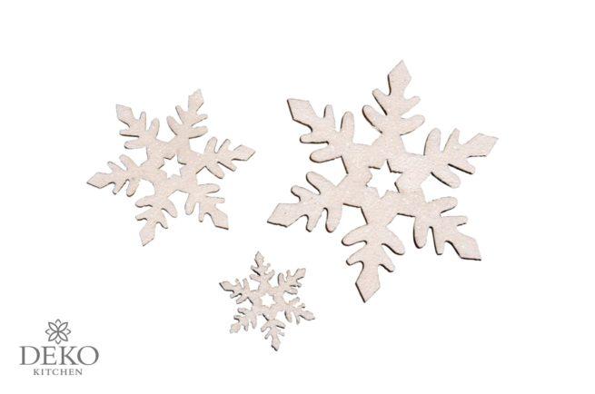Holz-Schneeflocken weiß irisierend