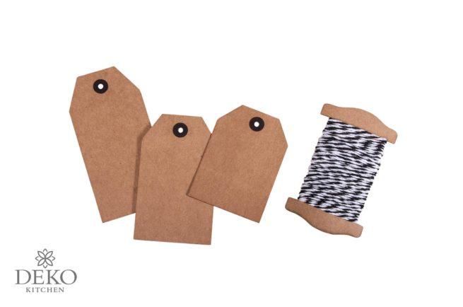 Geschenkanhänger-Set mit 18 Tags aus Kraftpapier inkl. Kordel
