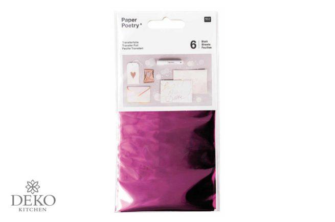 Transferfolie 9x15 cm, 6 Blatt, pink