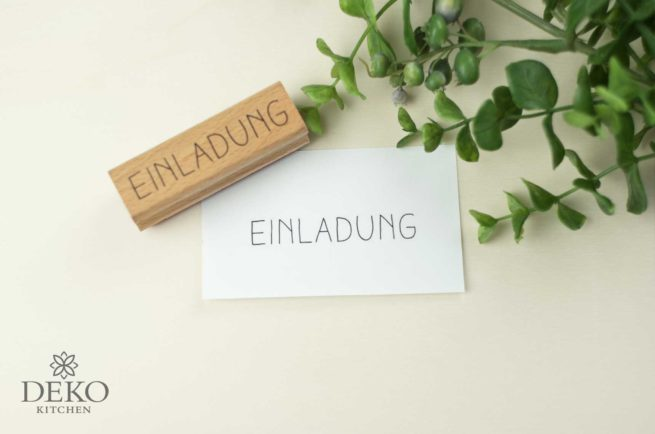 Holz-Stempel Einladung 7,5 x 2 cm