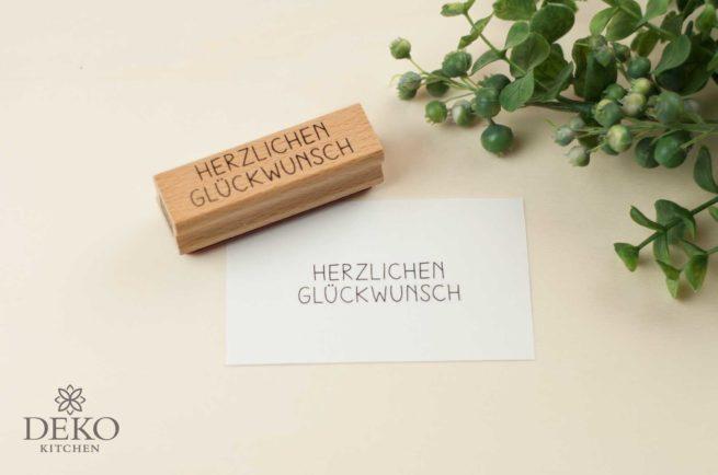 Holz-Stempel Herzlichen Glückwunsch 7,5 x 2 cm