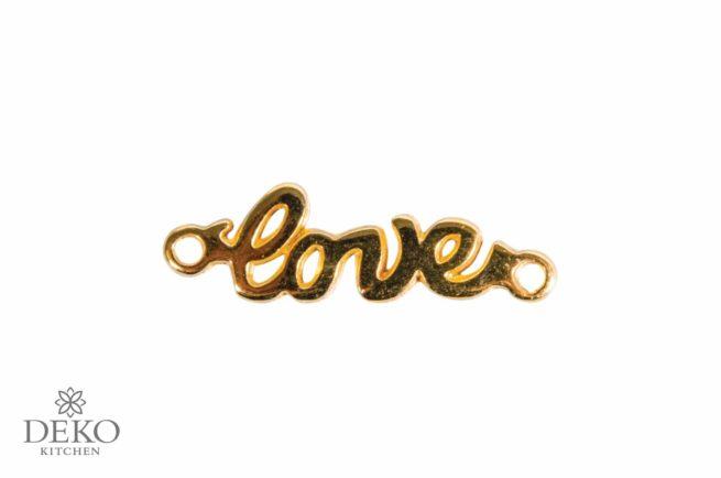 """Schmuck-Zierelement """"love"""" aus Metall, gold"""