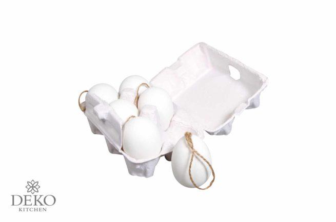 6 Plastik-Eier mit Juteanhänger im Eierkarton