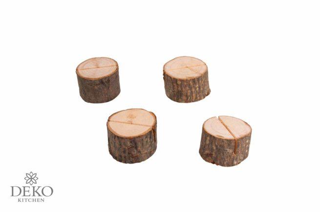 Kartenhalter Holzstamm, 4 Stück