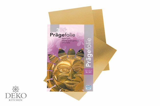 Prägefolie in gold, 3 Bogen