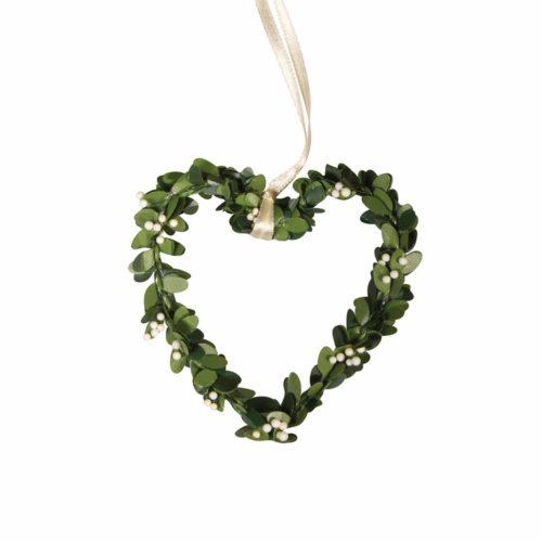 Buchs-Herz mit Aufhänger 7,5 x 8 cm 4 Stück