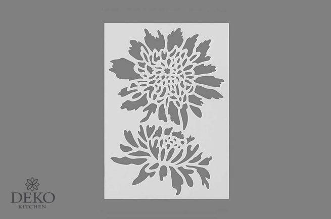 Schablone mit Chrysanthemen DIN A5