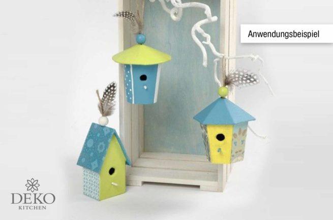 Mini-Vogelhäuser im Set aus Pappmaché, 7 cm, 6 Stk.