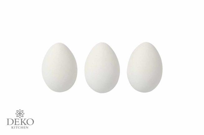 Plastik-Eier mit naturgetreuer Oberfläche, weiss, 12 Stk. im Eierkarton