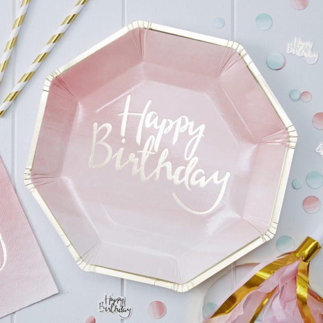 """""""Happy Birthday"""" Pappteller mit Ombré-Verlauf"""