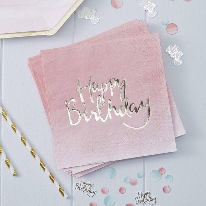 Happy Birthday Servietten mit Ombré-Verlauf und goldenem Foliendruck