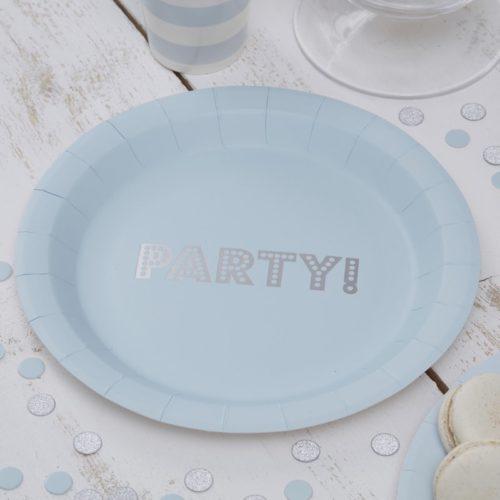 Pappteller mit silberfarbenem Party-Schriftzug