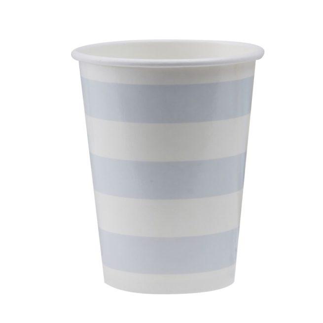 Pappbecher mit pastellblauen Streifen