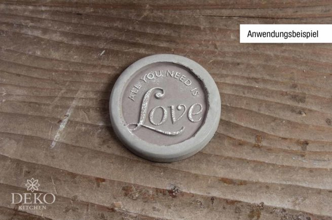 "Gieß-Label ""All you need is Love"" 45 mm Durchmesser"