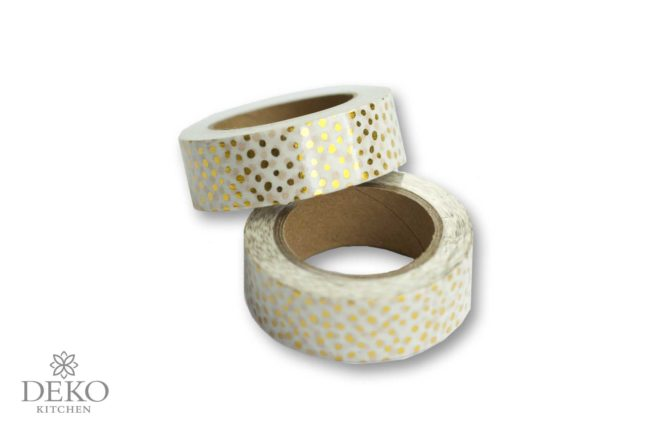 Washi Tape gold-gepunktet, 10 m