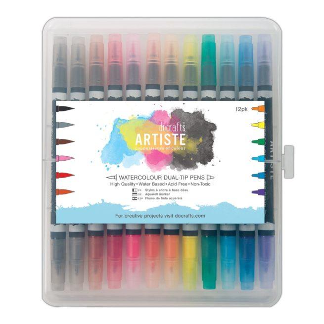 Artiste Aquarellstifte-Set mit zweiseitiger Spitze, 12 Farben