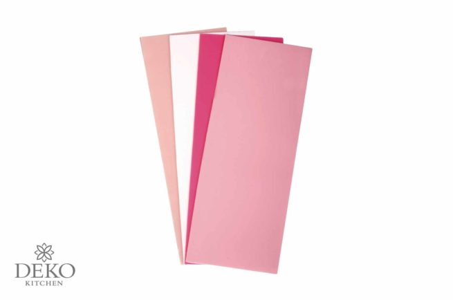 Verzierwachs-Platten in Rosa-Tönen, 6,5 x 20 cm, 4 Stück
