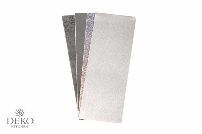 Verzierwachs-Platten in Silber-Tönen, 4 Platten