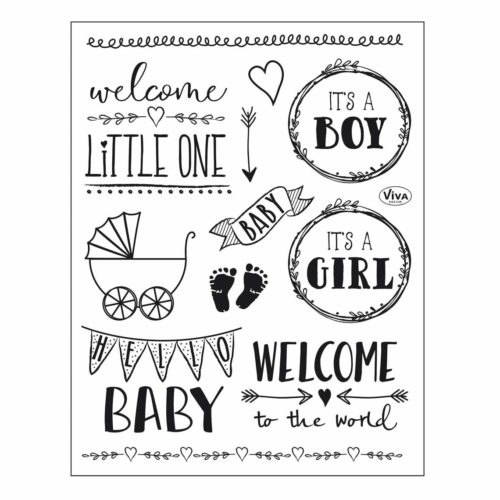 """Silikon-Stempel Set Clear-Stamps """"Hello Baby"""" 14 x 18 cm"""