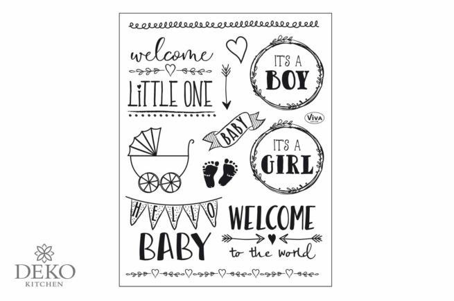"Silikon-Stempel Set Clear-Stamps ""Hello Baby"" 14 x 18 cm"