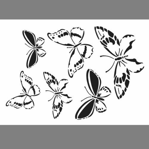 Universal-Schablone A4 mit Schmetterlingen, 6 Motive