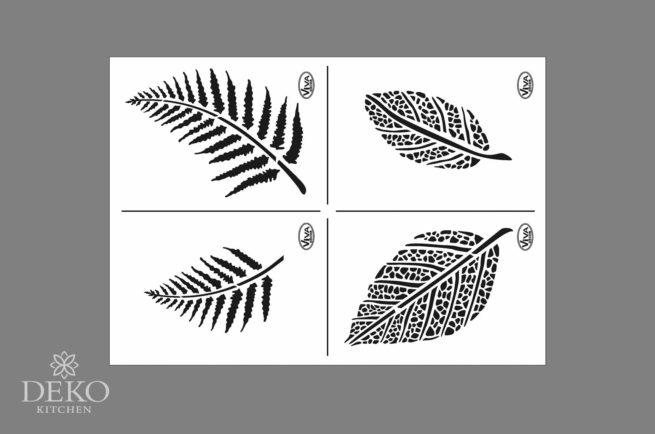 Universal-Schablone A4 mit Blättern, 4 Motive