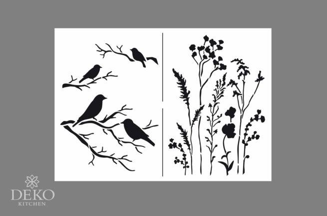 Universal-Schablone A4 mit Zweigen und Vögeln, 2 Motive