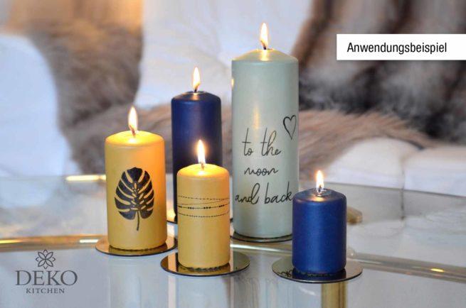 Anwendungsbeispiel Inka Silk Frabe auf Kerzen