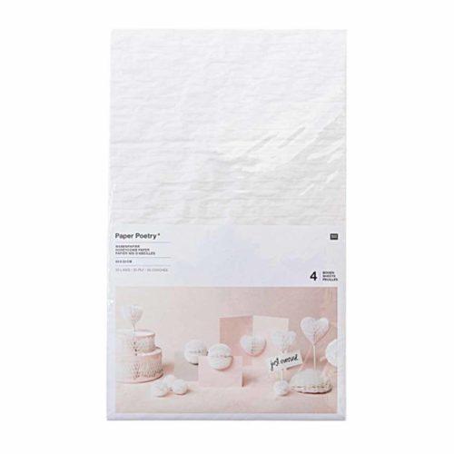 Wabenpapier weiß 20x33cm 4 Bogen
