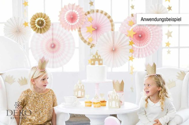 Faltrosetten-Set in rosa & gold 8-teilig
