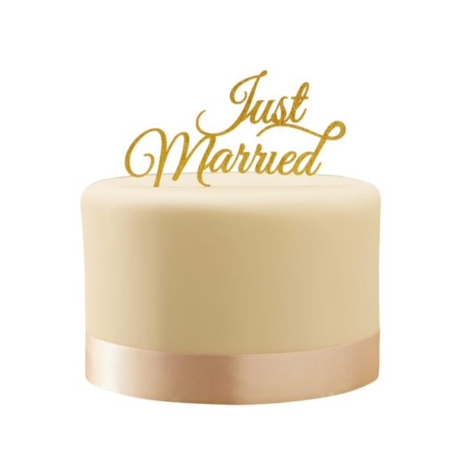 "Cake Topper ""Just Married"" in Goldglitteroptik"