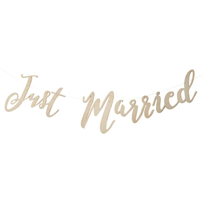 Just Married Girlande aus Holz
