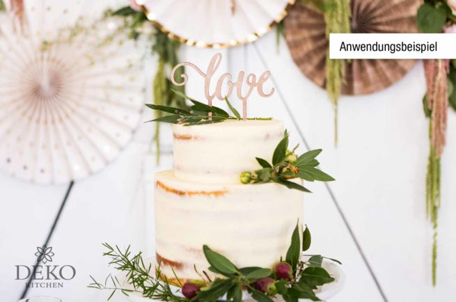 "Cake Topper ""love"" in romantischer Holzoptik"