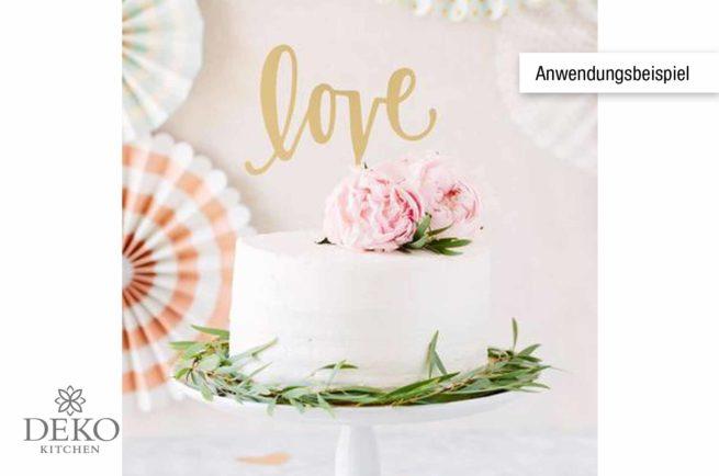 """Cake Topper """"love"""" in verspiegelter Goldoptik"""