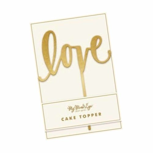"Cake Topper ""love"" in verspiegelter Goldoptik"