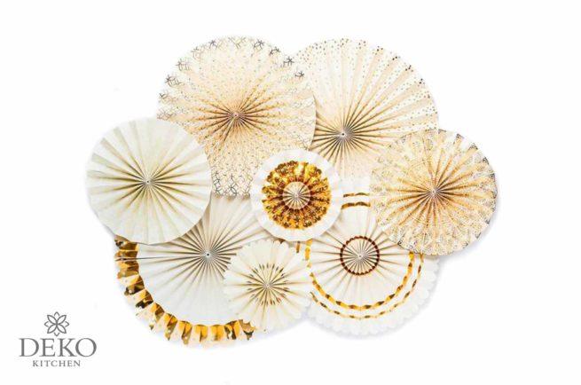 Faltrosetten-Set champagner & gold, 8-teilig