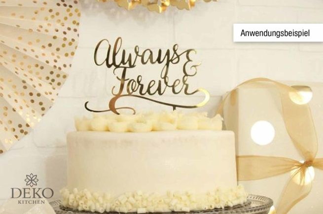 "Cake Topper ""Always & Forever"" gold verspiegelt"