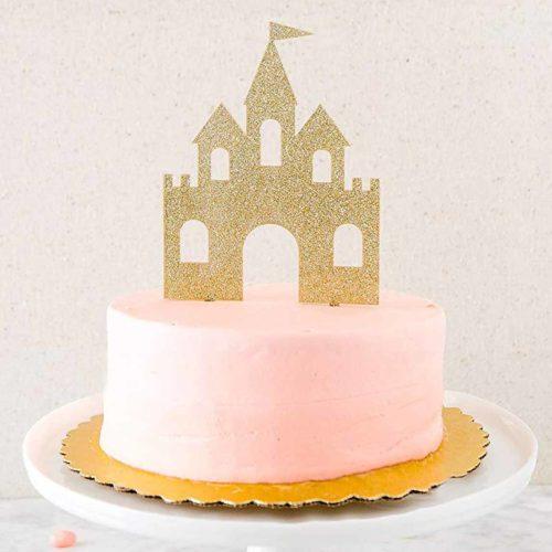 Cake Topper Märchenschloss in Goldglitter aus Acryl