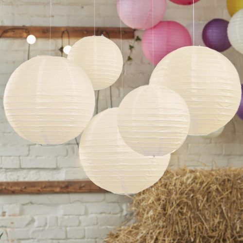Lampion 5er Set in ivory