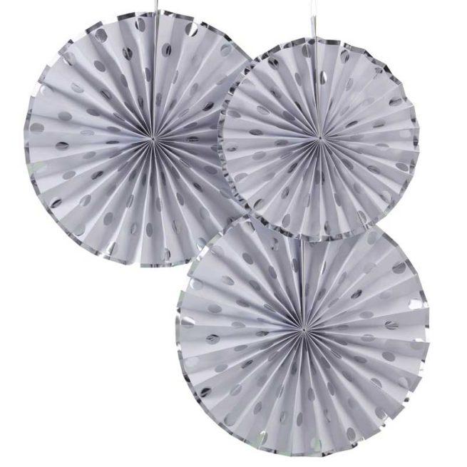 Faltrosetten-Set 3 Stk. mit silbernen Punkten