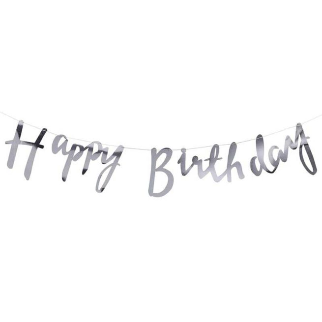 Happy Birthday Girlande in silber