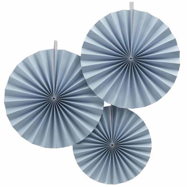 Faltrosetten-Set 3 Stk. in pastellblau
