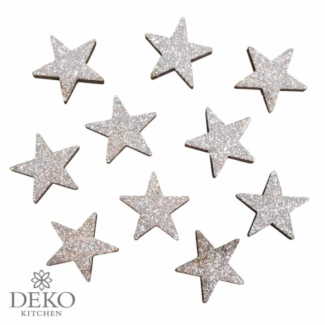 Holz Streuteile Sterne mit Glitter in silber